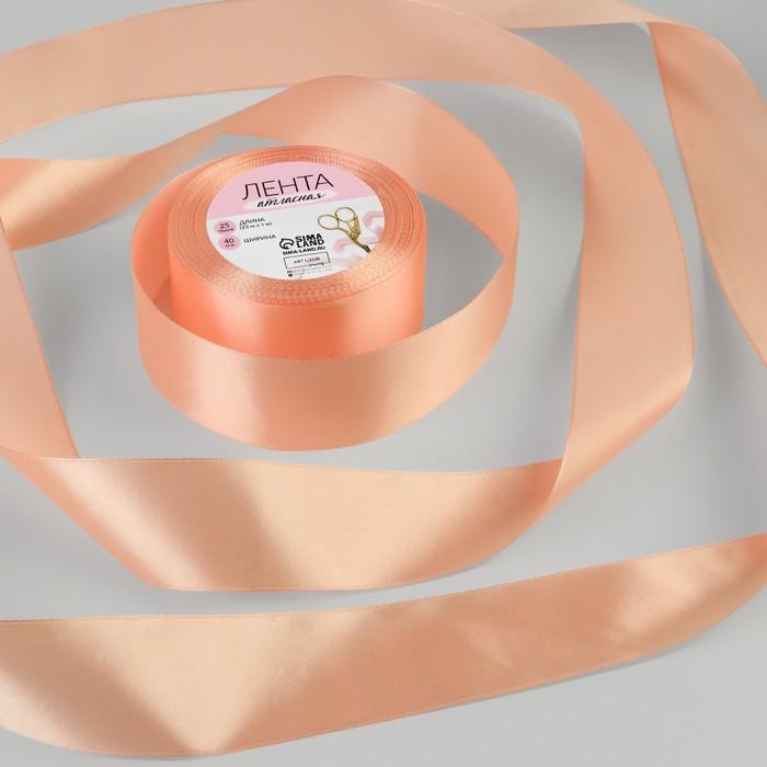 Лента атласная, 40 мм, 23±1 м, №163, цвет розовый