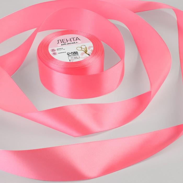 Лента атласная, 40 мм, 23±1 м, №05, цвет ярко-розовый