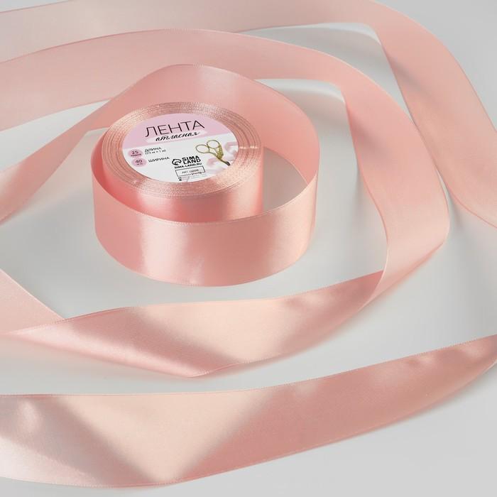Лента атласная, 40 мм, 23±1 м, №41, цвет бледно-розовый