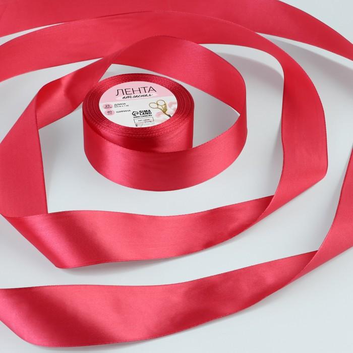 Лента атласная, 40 мм, 23±1 м, №120, цвет бордовый