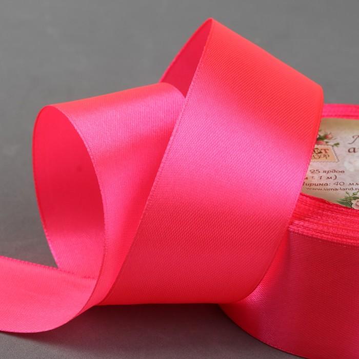 Лента атласная, 40 мм, 23±1 м, №14, цвет неоново-розовый