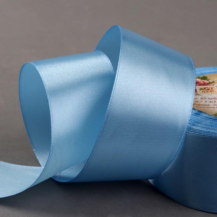 Лента атласная, 40 мм, 23±1 м, №78, цвет голубой