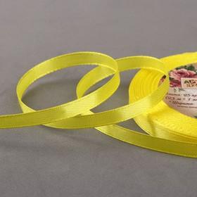 Лента атласная, 6мм, 23±1м, №112, цвет жёлтый Ош