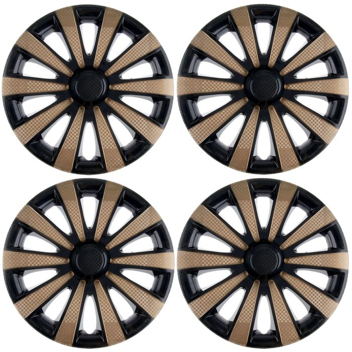 "Колпаки колесные R15 ""Карат"" Super Black/Gold, набор 4 шт."