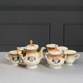"""Чайный набор """"Блиц"""" коричневый, три розы, 8 предметов 0,6/0,25 л"""