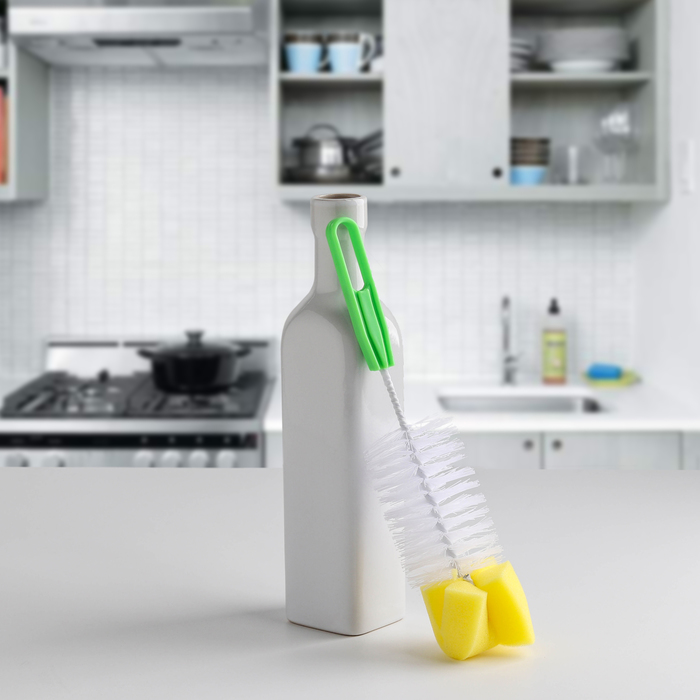 Ёршик для посуды с губкой, цвет МИКС