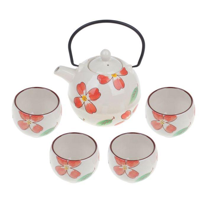 """Набор для чайной церемонии """"Листопад"""", 5 предметов: чайник 750 мл, пиалы 150 мл"""