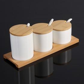 "Набор банок для сыпучих продуктов ""Эстет"" на подставке, 3 ложки, 3 банки: 200 мл, 250 мл, 350 мл"
