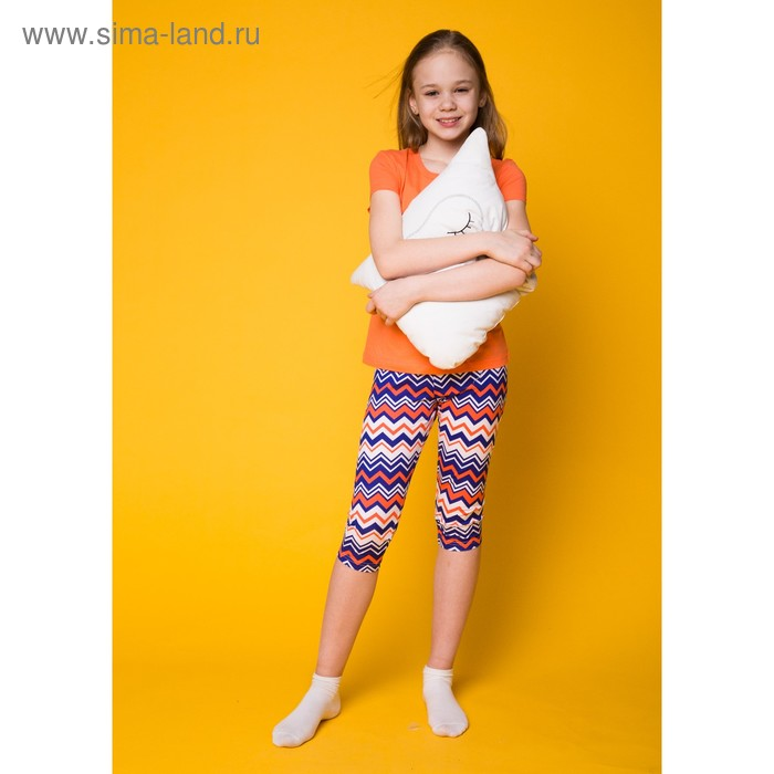 Комплект для девочки (футболка+капри), рост 152 см (38), цвет коралл Р207777_П