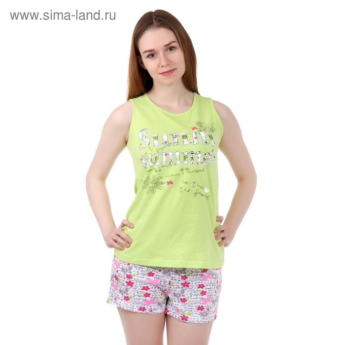 Пижама женская (майка, шорты) Р207354 салат, рост 170-176 см, р-р 52