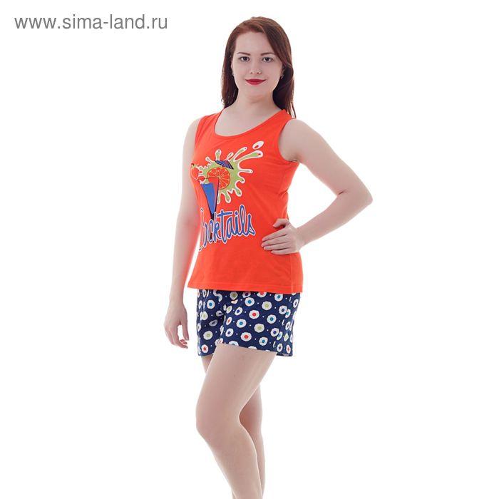 Комплект женский (майка, шорты) Р208120 красный/синий, рост 158-164 см, р-р 46