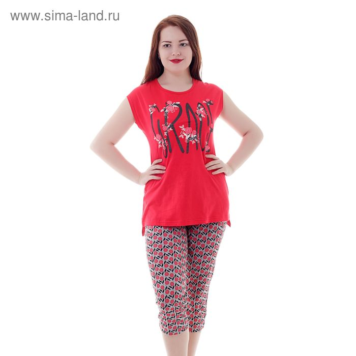 Комплект женский (майка, капри) Р208074 красный, рост 158-164 см, р-р 46