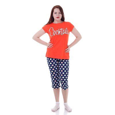 Комплект женский (футболка, капри), цвет красный/синий, рост 170-176 см, размер 42