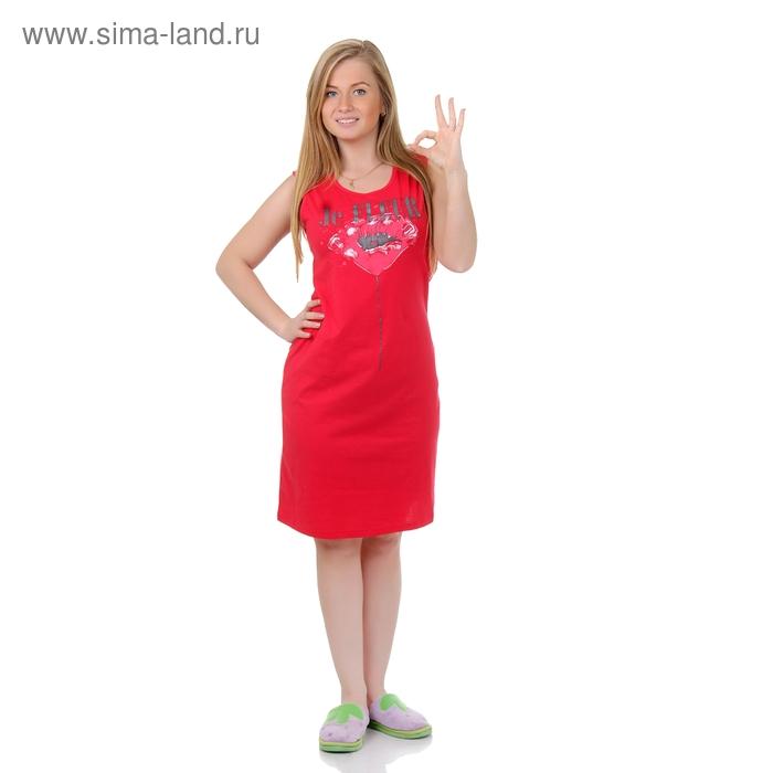Сорочка женская ночная Р308072 красный, рост 158-164 см, р-р 44
