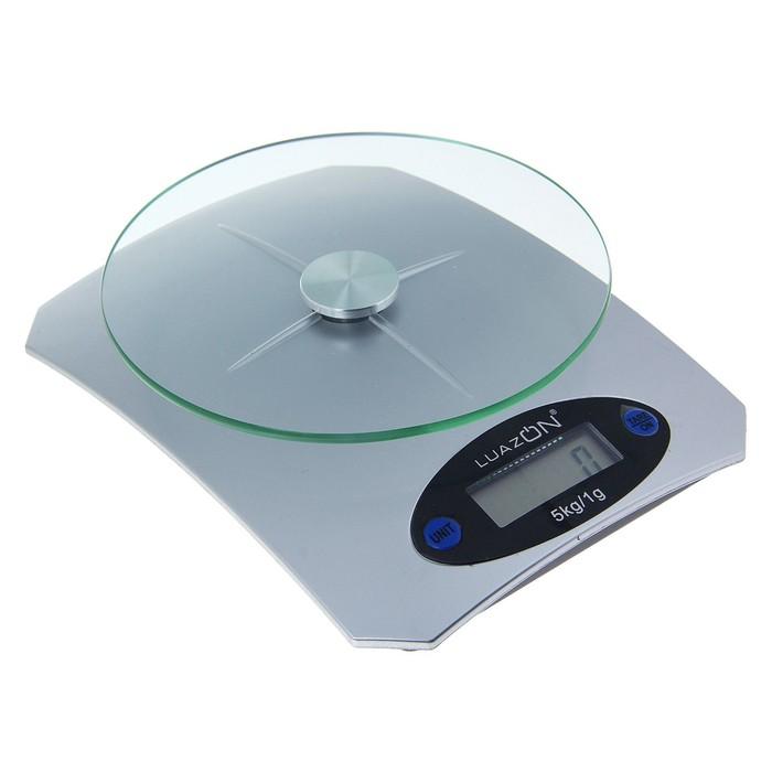 Весы кухонные LuazON LVK-502, электронные, до 5 кг, серебристые