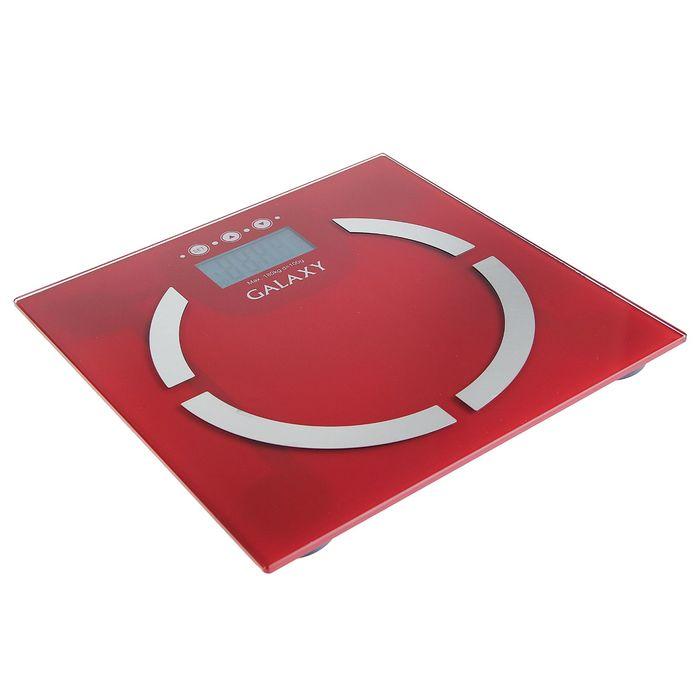 Весы напольные Galaxy GL 4851, электронные, до 180 кг, с анализатором массы, красные