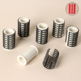 Thermal hair rollers with a lock, d = 3,2 cm, 6 pcs, color MIX.