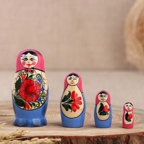 Матрёшка «Семёновская», розовый платок, 4 кукольная, 9 см, ручная работа
