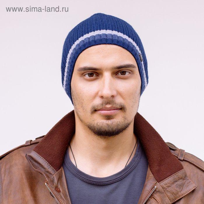"""Шапка мужская """"ТИЛ"""" демисезонная, размер 56-58, цвет синий, джинс 490020"""