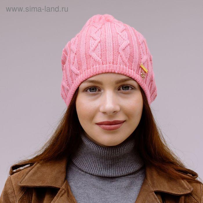 """Шапка женская """"АМБЕР"""" демисезонная, размер 58, цвет розовый 150960"""