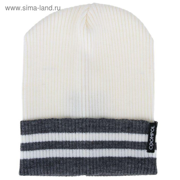 """Шапка для юношей """"ЖДАН"""" демисезонная, размер 54-56, цвет белый, светло-серый 190027"""