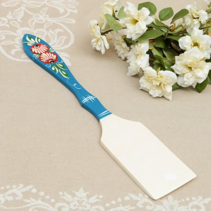 Лопатка «Цветы» кухонная, городецкая роспись
