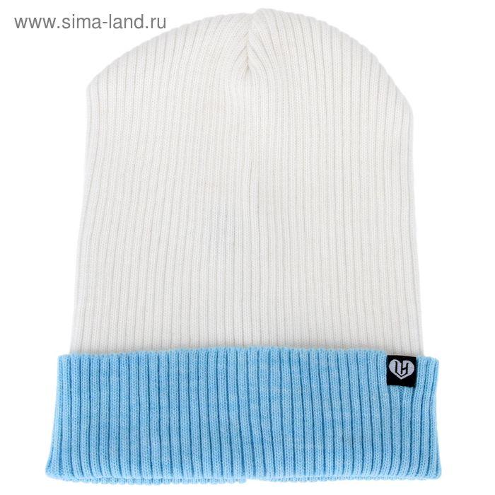"""Шапка подростковая """"КОНТРАСТ"""" демисезонная, размер 54-56, цвет белый, голубой 160908"""