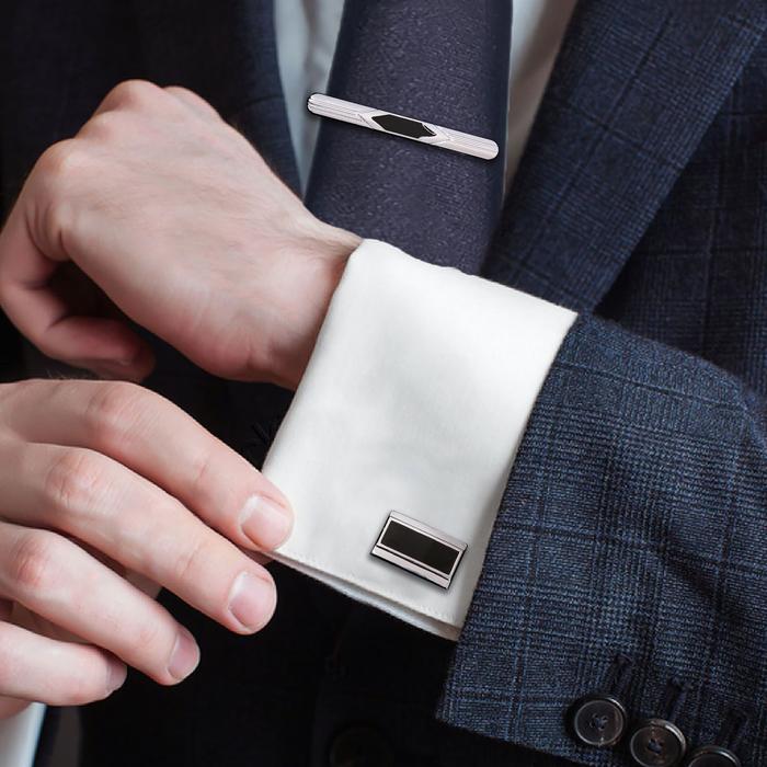 """Набор мужской """"Запонки + зажим для галстука"""", прям-ник с серой стразой, цвет серебро"""