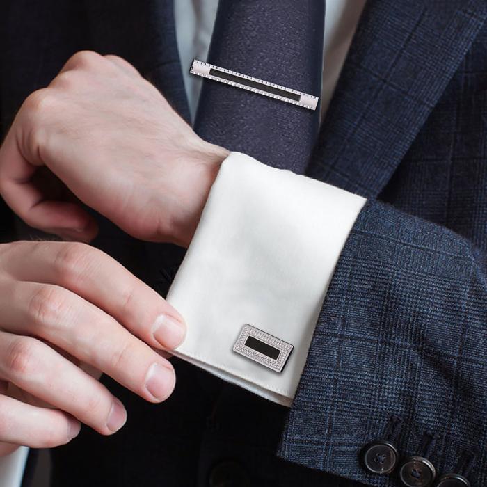 """Набор мужской """"Запонки + зажим для галстука"""", прямоугольник с фиолетовый эмалью, цвет серебро"""