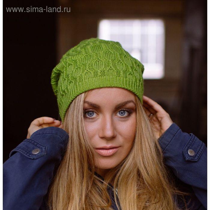 """Шапка женская """"МИРРА"""" демисезонная, размер 56-58, цвет зеленый 415028"""