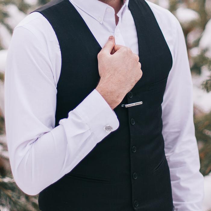 """Набор мужской """"Запонки + зажим для галстука"""", круг точечное нанесение, цвет серебро"""