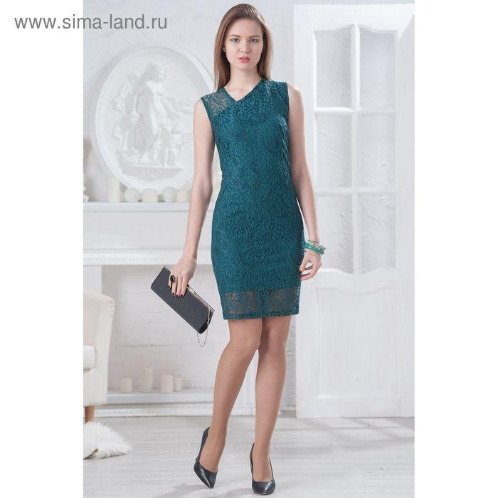 Платье женское 4521, размер 48, рост 164 см, цвет изумрудный