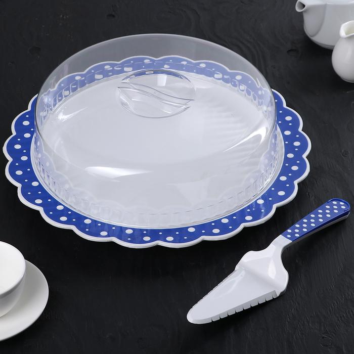 """Набор """"Горошек"""" 3 предмета: блюдо 37 см с крышкой, лопатка-нож, цвет бело-синий"""
