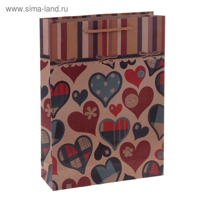 "Пакет крафт ""Сердца"", 11 х 14 х 6 см"