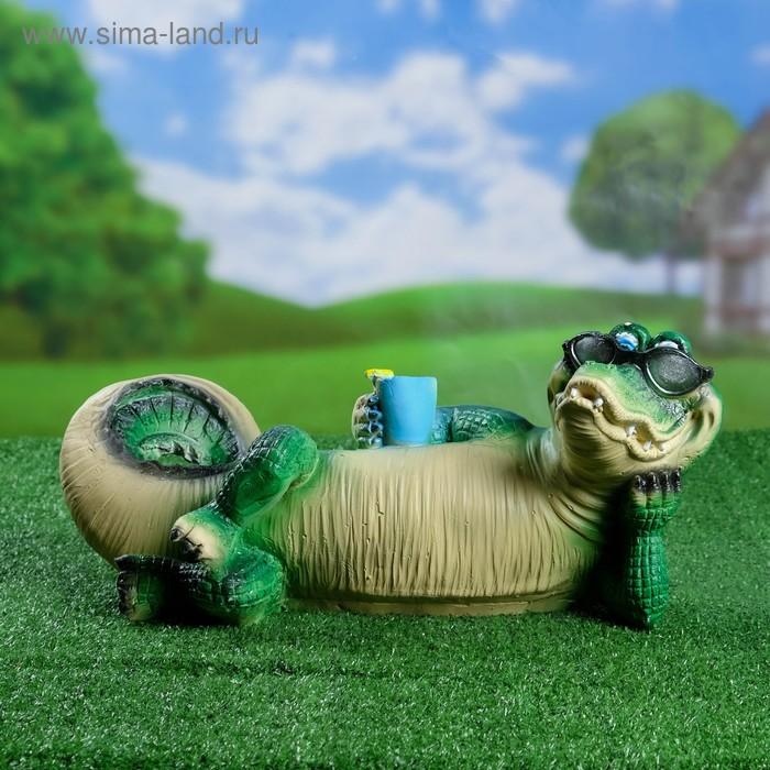 """Садовая фигура """"Крокодил на отдыхе"""""""