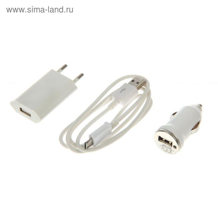 Комплект зарядки Luazon, 2 в 1, 1 А, с USB кабелем для micro USB, от 220/12 В