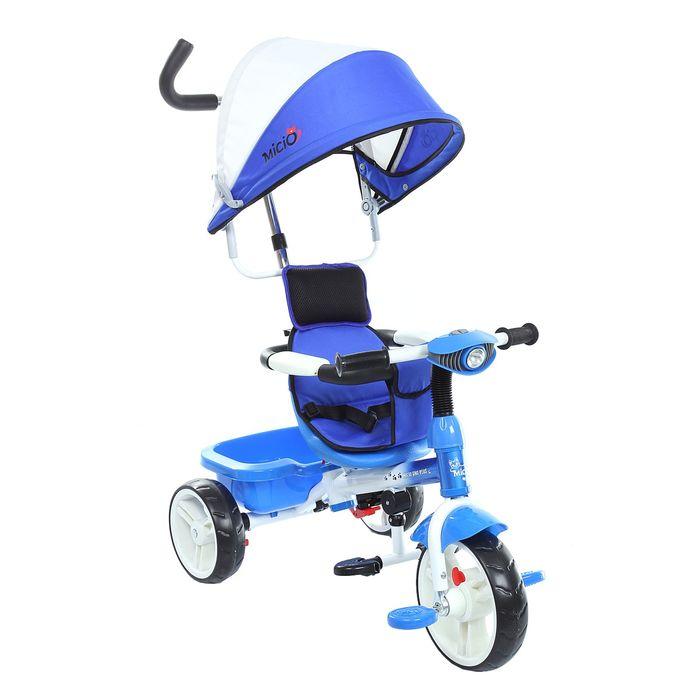 """Велосипед трёхколёсный Micio Uno Plus 2016, колёса EVA 10""""/8"""", цвет синий с белым"""