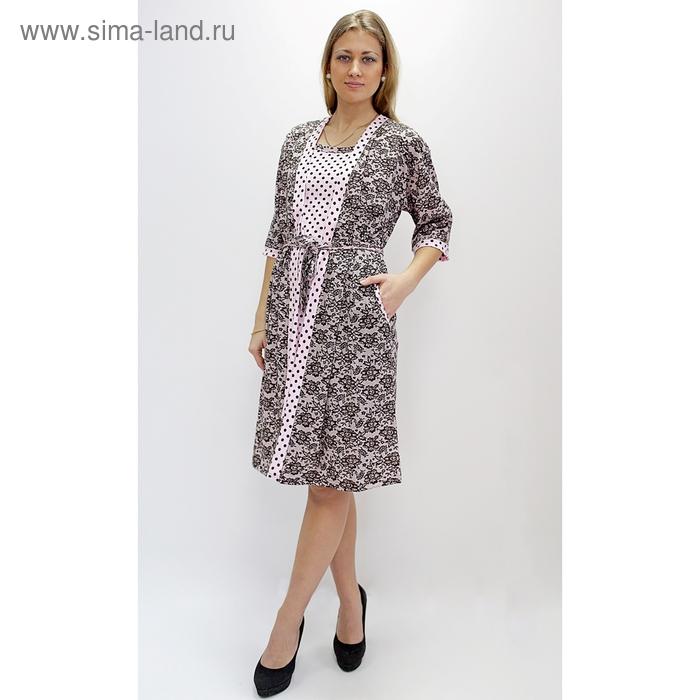 Комплект женский (халат, сорочка) ПС-1 МИКС, р-р 56