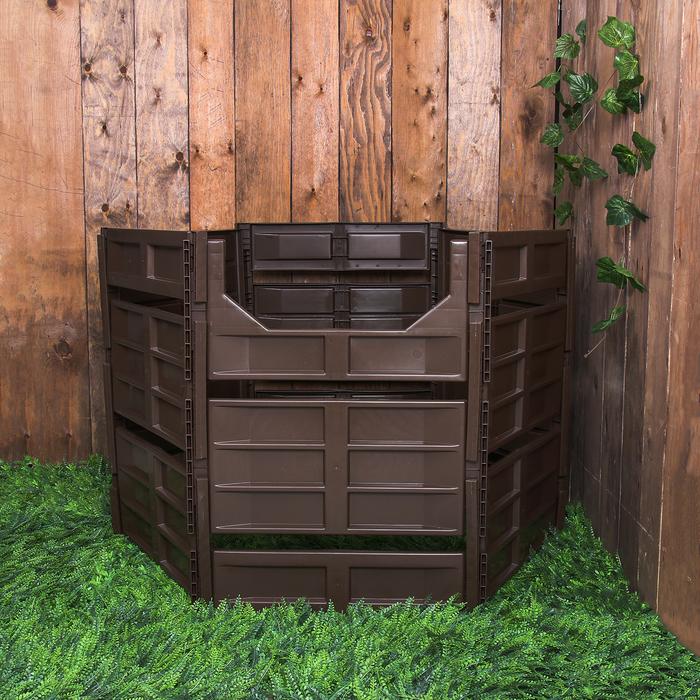 Компостер пластиковый, 810 л, 122 × 104 × 84 см, коричневый