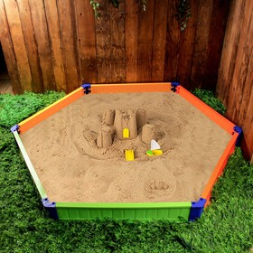 Песочница пластиковая «Шестиугольник», 228 × 194 × 21 см, цвет МИКС