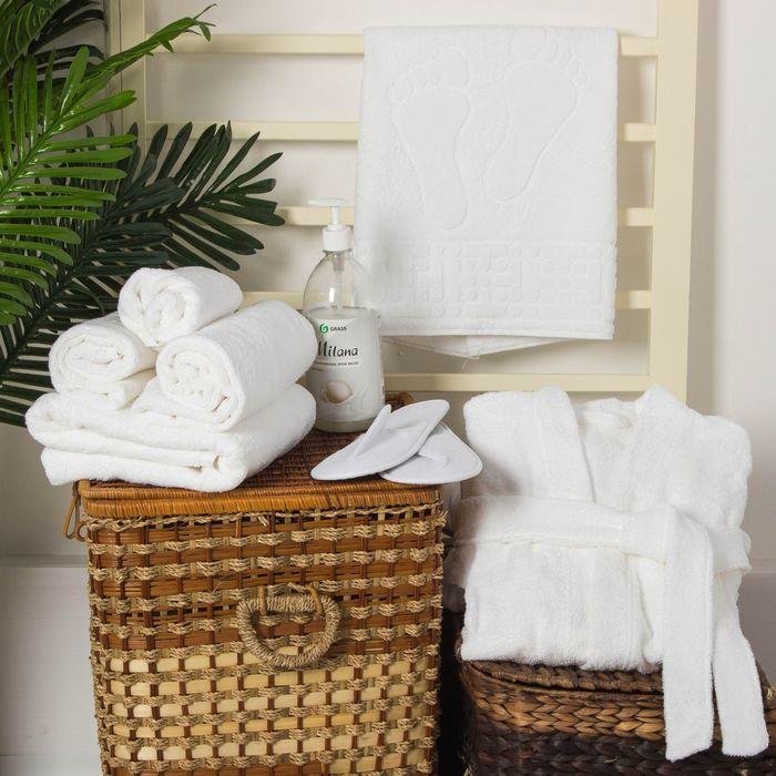 Тапочки махровые для гостиницы, белые, 100% хлопок
