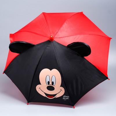 Зонт детский Микки Маус, 8 спиц d=52 см с ушами
