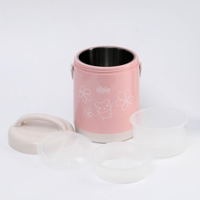 """Термос суповой """"Китти"""" (внутри металл), 1,8 л, держит тепло 3-5 часов, 2 контейнера, МИКС"""