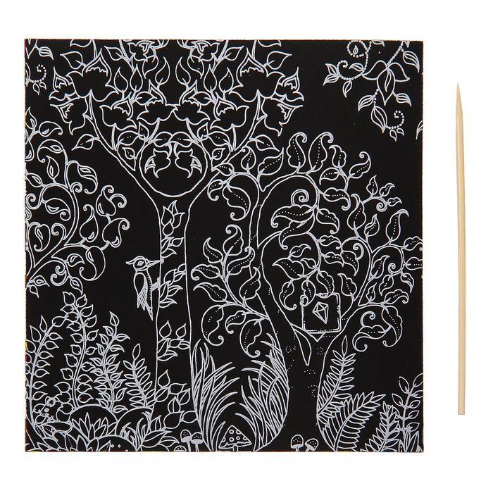 """Гравюра """"Загадочный сад №11"""" цветное основание, оборот раскраска + штихель"""
