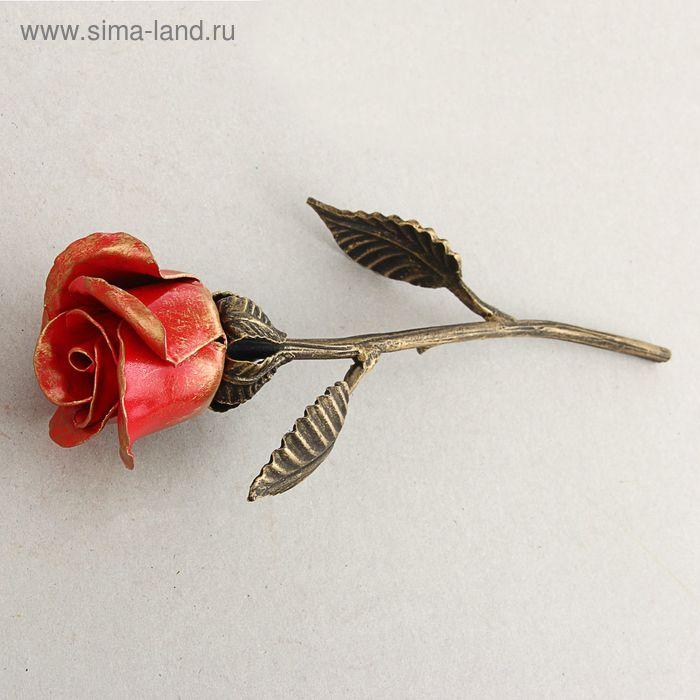 Роза кованая красная 32 см, ручная работа