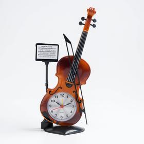 """Будильник """"Скрипка с пюпитром"""", дискретный ход, 17 х 10 см"""
