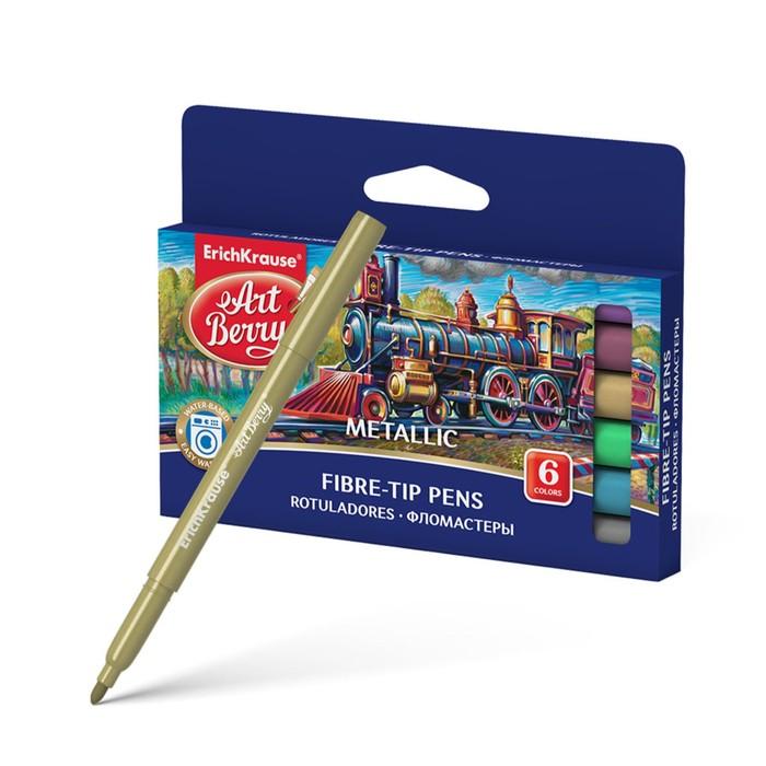 Маркер-краска (лаковый) для декора Набор 6 цветов Creative Line Metallic, линия 1.0-4.0мм, с утолщенным корпусом и смываемыми чернилами цвета металлик