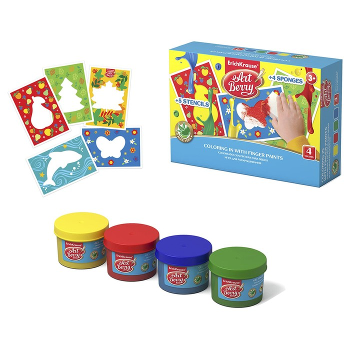 Игра для раскрашивания Artberry, краски пальчиковые 4 цвета по 35мл + 5 трафаретов + 4 спонжа