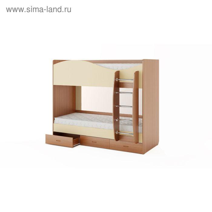Кровать двухъярусная с ящиками 2030х1085х1700 мм, бук тёмный/персик