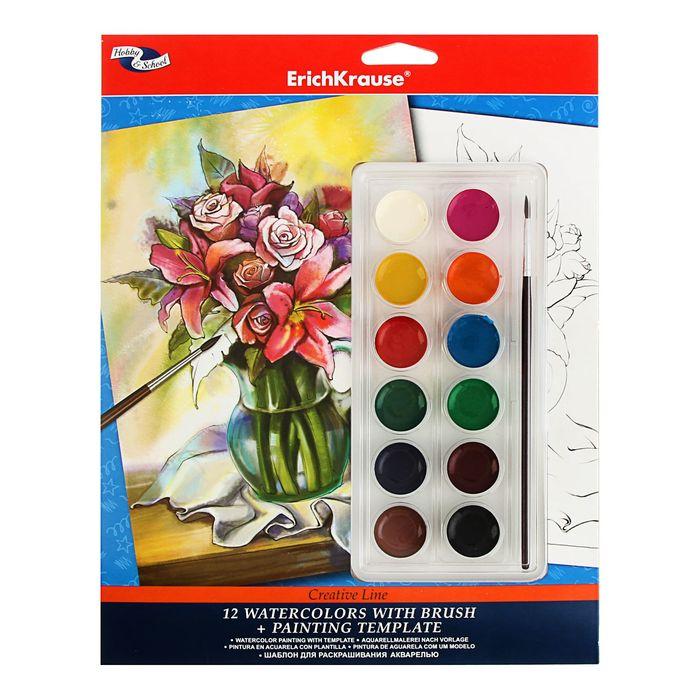 """Шаблон для раскрашивания акварелью """"Букет"""" Creative line + акварель 12 цветов с кистью"""